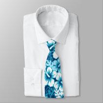 Surf floral hibiscus neck tie