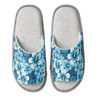 Surf Floral Hibiscus Pattern Pair Of Open Toe Slippers