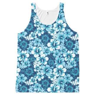 Surf Floral Hibiscus Pattern All-Over Print Tank Top