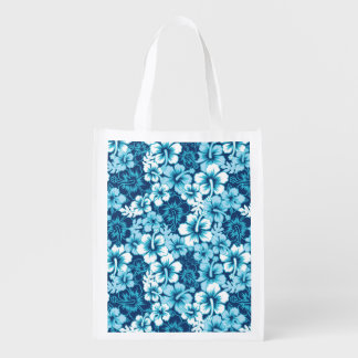 Surf Floral Hibiscus Pattern Reusable Grocery Bag