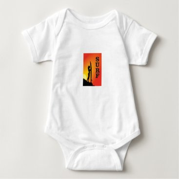 Beach Themed surf girl baby bodysuit