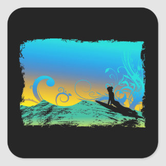 Surf Girl Square Sticker