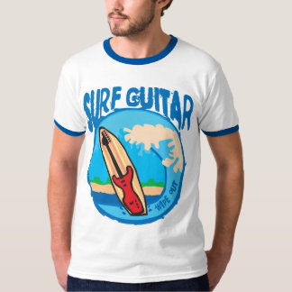 Surf Guitar: Red Guitar on Surfboard. Wipe Out! T-shirts