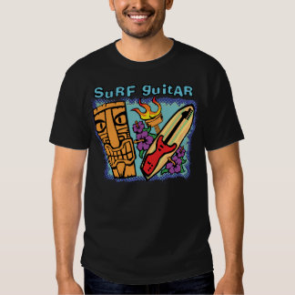 Surf Guitar: Tiki w/Torch and Hibiscus T-shirt