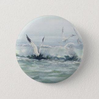 SURF GULLS & SEA by SHARON SHARPE Button