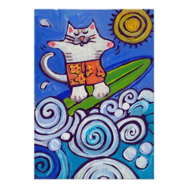 Beach Themed Surf Kitty Poster from original painting by Nicole