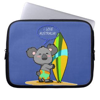 Surf Koala Bear Laptop Sleeve