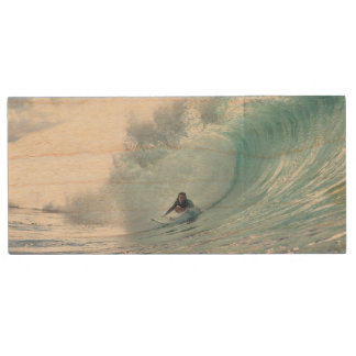 Surf Legend Rochelle Ballard Surfing Hawaiian Wave Wood USB 2.0 Flash Drive
