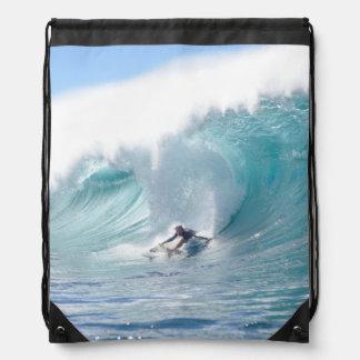 Surf Legend Rochelle Ballard Surfing Hawaiian Wave Drawstring Bags