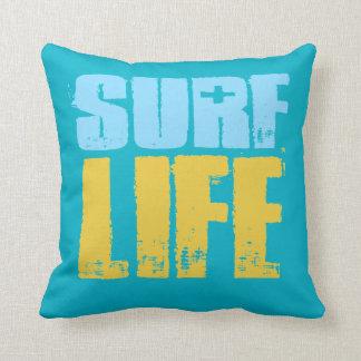 Surf Life Beach Surfer Style Throw Pillow