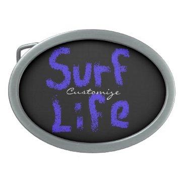 Beach Themed surf life spray-painted blue  any color oval belt buckle