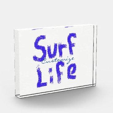 Beach Themed surf life spray-painted blue  on any color award