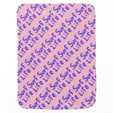 Beach Themed surf life Thunder_Cove pink/blue Baby Blanket