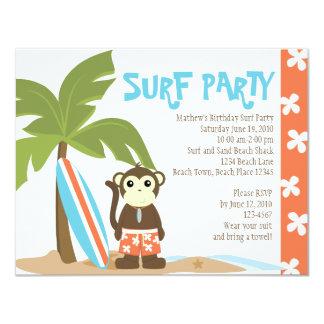 "Surf Monkey 4.25"" X 5.5"" Invitation Card"