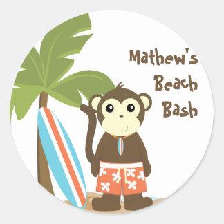 Surf Monkey Classic Round Sticker