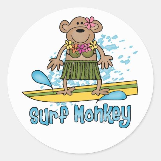 Surf Monkey (Girl) Classic Round Sticker