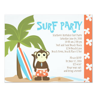 Surf Monkey 4.25x5.5 Paper Invitation Card