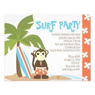 Surf Monkey Personalized Invitation