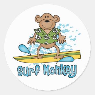 Surf Monkey Round Stickers