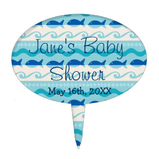 Surf 'N Fishies Baby Shower Cake Topper