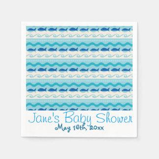 Surf N' Fishies Nautical Baby Shower Paper Napkin