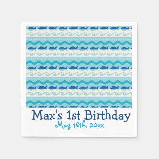 Surf N' Fishies Nautical Birthday Napkin