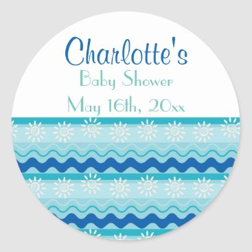 Toddler & Baby themed Surf 'N Sun Nautical Baby Shower Classic Round Sticker