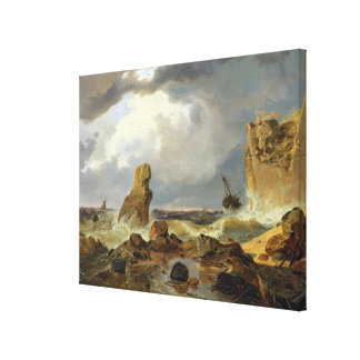 Surf on a Rocky Coast, 1835 Gallery Wrap Canvas