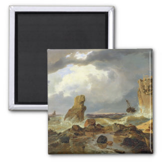 Surf on a Rocky Coast, 1835 Magnets
