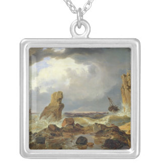 Surf on a Rocky Coast, 1835 Personalized Necklace