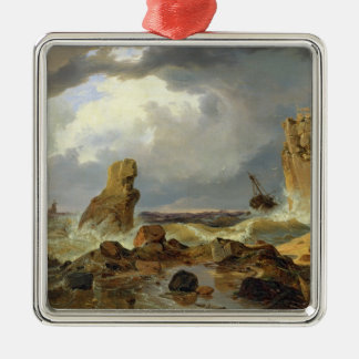 Surf on a Rocky Coast, 1835 Square Metal Christmas Ornament