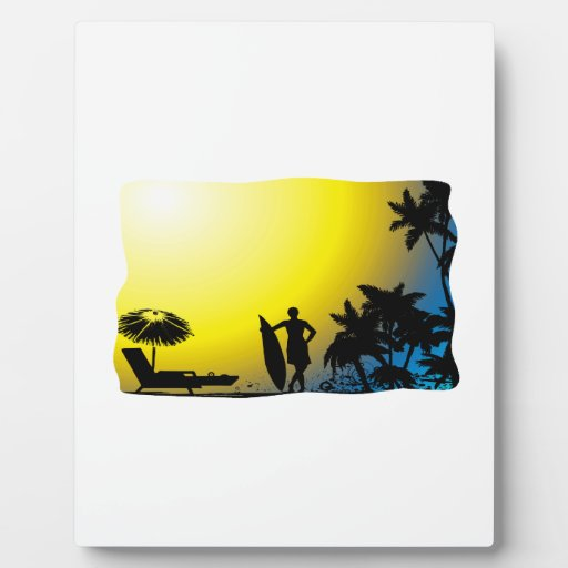 Surf on Beach Sunset Plaques