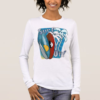 Surf On Ladies Long Sleeve Fitted T Shirt
