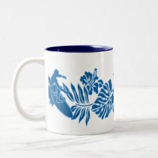 Surf Pareau Hawaiian Hibiscus Band Two-Tone Coffee Mug