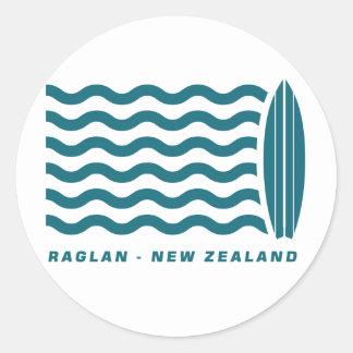 Surf Raglan New Zealand Classic Round Sticker