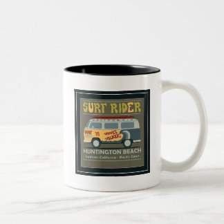 Surf Rider Huntington Beach Poster Two-Tone Coffee Mug