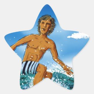 Surf Rider Star Sticker