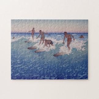 'Surf-Riders, Honolulu' - Charles W. Bartlett Jigsaw Puzzle