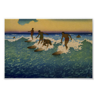 Surf riders, Honolulu riding the waves Poster