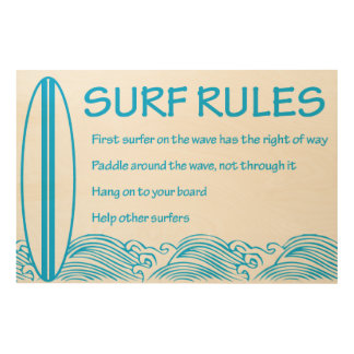 Surf Rules Wood Canvas
