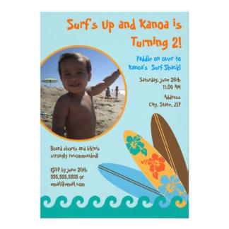 Surf s Up Birthday Photo Invitation 5 x 7 - Blue