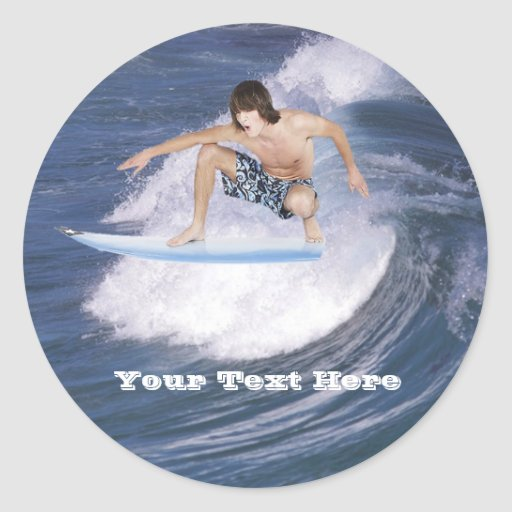 Surf's Up!  Catch The Wave! Classic Round Sticker