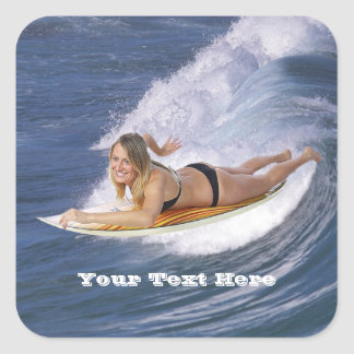 Surf's Up!  Catch The Wave! Square Stickers