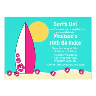 Surf s Up Surfboard Swimming Birthday Invitation