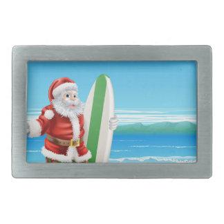 Surf Santa on the beach Rectangular Belt Buckles