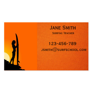 Surf school surfing teacher business card