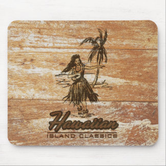 Surf Shack Hawaiian Faux Wood Mouse Pad