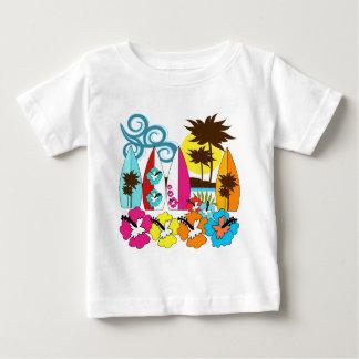 Surf Shop Surfing Ocean Beach Surfboards Palm Tree Baby T-Shirt