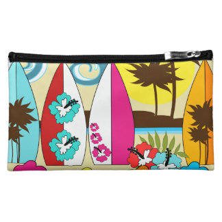 Surf Shop Surfing Ocean Beach Surfboards Palm Tree Cosmetic Bag