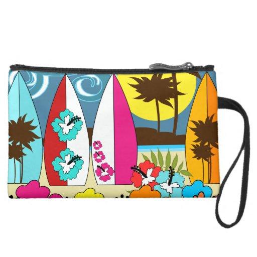 Surf Shop Surfing Ocean Beach Surfboards Palm Tree Wristlet Clutches